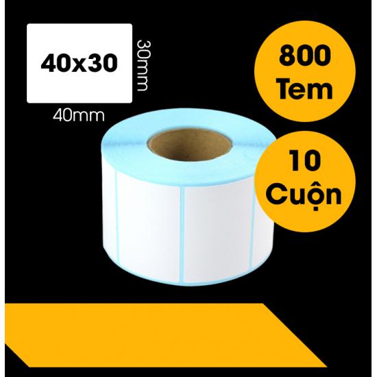 Giấy In Mã Vạch 40x30 mm (Cuộn 800 Tem Đế Xanh)